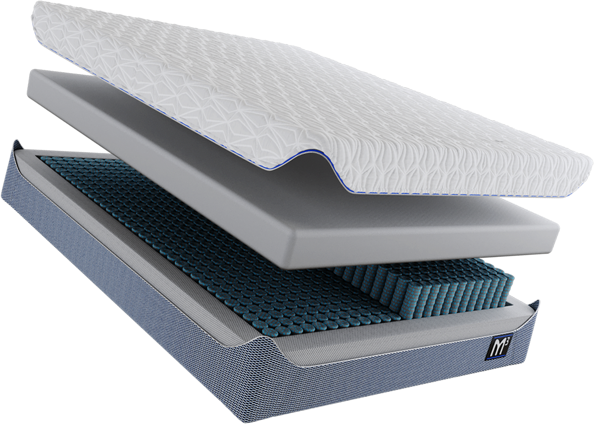 BEDGEAR M3 Mattress open with its pieces seperated - Top layer, comfort layer, independent suspension, and chassis